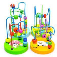 Bunt Mini Rund Perlen Baby Lernspiel Spielzeug Holz Kinder Baby