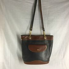VINTAGE BALLY LEATHER SHOULDER BAG BLACK-BROWN ITALY MADE USED