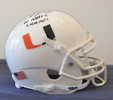 Clinton Portis Miami Hurricanes Autographed Mini Helmet with National Champs Ins