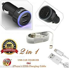 Apple iPhone 6/5/5S/5C In Car Super Fast Charger + 8 Pin Data Cable USB