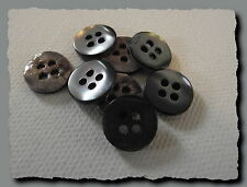 8 BOUTONS  GRIS en NACRE 11 mm  4 trous  button shell mercerie sewing lot grey