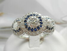 QVC-Epiphany Diamonique & Simulated Sapphire Halo Ring Size 7