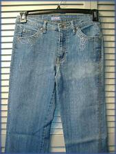 "SENSUAL Distressed Stretch Denim Jeans (5) 28"" waist 32.5"" inseam Rhinestones"