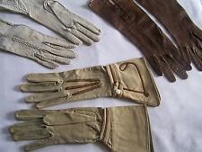 FAB Lot 3 Three Pairs VINTAGE Ladies' GLOVES 2 Soft Leather 1Textile FRANCE