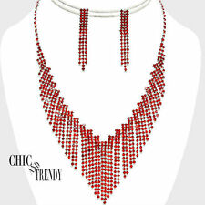 TRENDY RED RHINESTONE CRYSTAL WEDDING FORMAL NECKLACE JEWELRY SET CHIC TRENDY