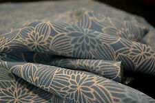 Japanese Silk Crepe Blue with white Flowers 1091