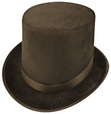 Gentlemans Velour Black Top Hat Lincoln Halloween Ringmaster Fancy Dress P7119