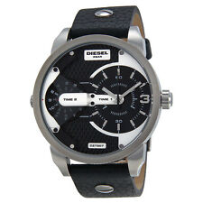 Diesel DZ7307 Silver Little Daddy Chronograph Black Leather Mens Watch RRP £229