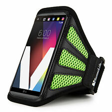 Black/Green Mesh Running Cycling Armband Pouch Cover Case For LG V20 V10 G5