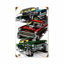 Pro Street Diecast Tri Five Chevy Bel Air Gasser Retro Sign Blechschild Schild