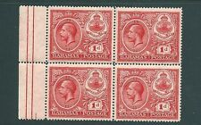 BAHAMAS 1920 marginal block of stamps - SG107 MNH