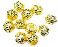 50 Gold Plated Large Hole Beaded Metal Oval Beads 8MM