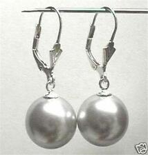 12MM Grey Shell Pearl Round Beads Drop Earrings AAA+