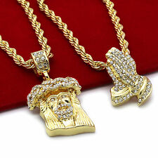 "Men's 14k Gold Plated High Fashion 2 pcs Jesus & Prayer 4mm 30"" & 24"" Rope chain"