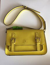 New Kate Spade New York Essex Scout Leather Cross-Body citronella WKRU1923
