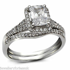 GIA Certified Radiant Cut Diamond Halo Style Engagement Ring & Wedding Band 18K