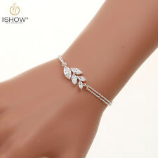 New Fashion Double Silver Chain Charm Shiny Crystal Leaf Bracelet For Women