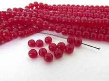 Vintage Japanese Beads Ruby Red Glass Baroque Transparent Rounds 6mm