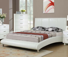 NEW LUCERNE MODERN WHITE BYCAST LEATHER CHROME CURVED QUEEN SIZE PLATFORM BED