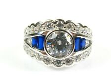 Art Deco 3.5ctw White Topaz & Lab Sapphire Coated Platinum Sterling Ring s7 144a