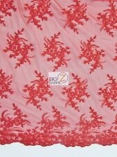 GORGEOUS FLORAL EMBROIDERY BRIDAL DRESS LACE FABRIC - Red - WEDDING GOWN