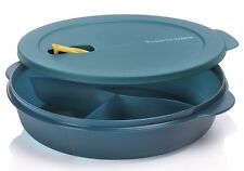Grande assiette Crystalwave bleue TUPPERWARE à 3 compartiments pour micro-ondes