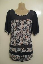 BNWOT 8 10 NEXT black floral tunic top holiday summer shirt short sleeves sheer