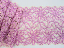 "4 yards Elastic Pink/Ivory Daisy Floral Soft Lace 6"" Wide Trim/Stretch/Sew T210"