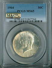 1964 KENNEDY SILVER HALF DOLLAR PCGS MAC MS65 PQ .