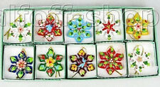 New 10 PCS WHOLESALE CLOISONNE CHRISTMAS SNOWFLAKE ORNAMENT