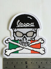 Vespa Skull Crossbones Patch - Embroidered - Iron or Sew On