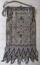 Antique Silver Gold Brown Persian Rug Acadamy Award Ticket Micro Bead Purse