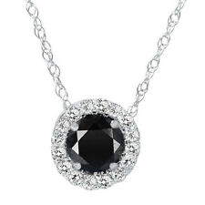 .55CT Black & White Natural Diamond Pave Halo Pendant 14K White Gold Necklace