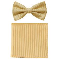 New formal men's pre tied Bow tie & Pocket Square Hankie stripes gold beige prom