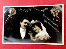 CPA. 1907. Souhaits. MARIAGE. Amour. Jeunes Mariés. Bouquet.