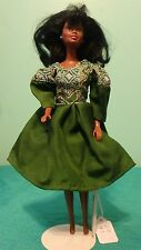 Dark Green Nylon Dress with Blue & White Lacy Print for Barbie Doll GD93
