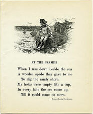 "Framed Print – Vintage Poem ""At the Seaside"" by Robert Louis Stevenson (Writing)"
