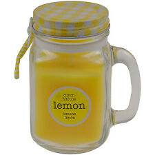 45 Hours Lemon Fruit Scented Fragrance Candle in a Glass Jar with Handle and Lid