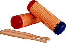 Pair Wooden Guiros 2 Maracas Shakers & Sticks Percussion Musical Instrument 7493