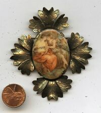"""Stunning Antique Faux Cameo Brooch Pin Painted Glass """"Lovers"""" Setting"""