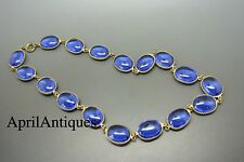 Vintage 50s french blue oval Gripoix Poured glass necklace