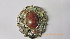 VINTAGE JEWELRY MIRACLE SCOTTISH AGATE MULTI COLOR STONES BROOCH/PIN