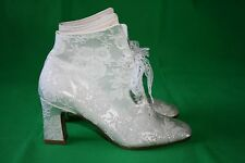 Touch Ups Made in USA Ivory Satin Lace Victorian Wedding Booties Size 6.5