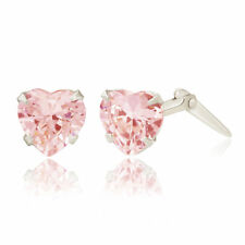 Sterling silver 5mm pink heart cubic zirconia Andralok stud earrings / Giftbox
