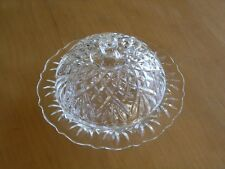 """Vintage EAPG Clear Pressed Glass Domed Covered Butter Dish Cut Design 7"""" x 4"""""""