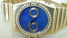 OMEGA 18K (91gr) CONSTELLATION  QUARTZ CHRONO CAL.1445 LAPIS $ DIA. sz.6.75 in