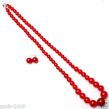 Natural 6-14mm Red Jade Round Beads Necklace + 925 Sterling Silver Earrings Set