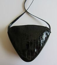 Rare MAUD FRIZON Paris Heart Shape Black Embossed Patent Leather Shoulder Bag