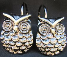 "NEW ""OWL"" OWLS SILVER METAL SHOWER CURTAIN HOOKS"
