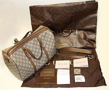 Gucci GG Supreme Nice Boston Bag w/ Detachable Crossbody Strap Brown Beige MINT